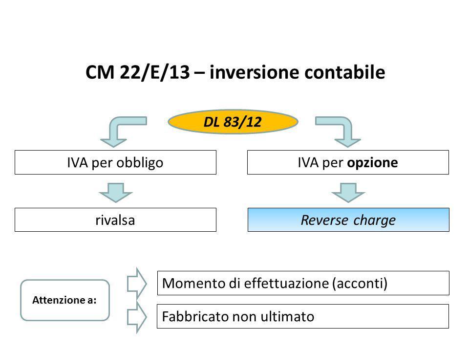 CM 22/E/13 – inversione contabile IVA per obbligo IVA per opzione DL 83/12 rivalsaReverse charge Momento di effettuazione (acconti) Fabbricato non ult