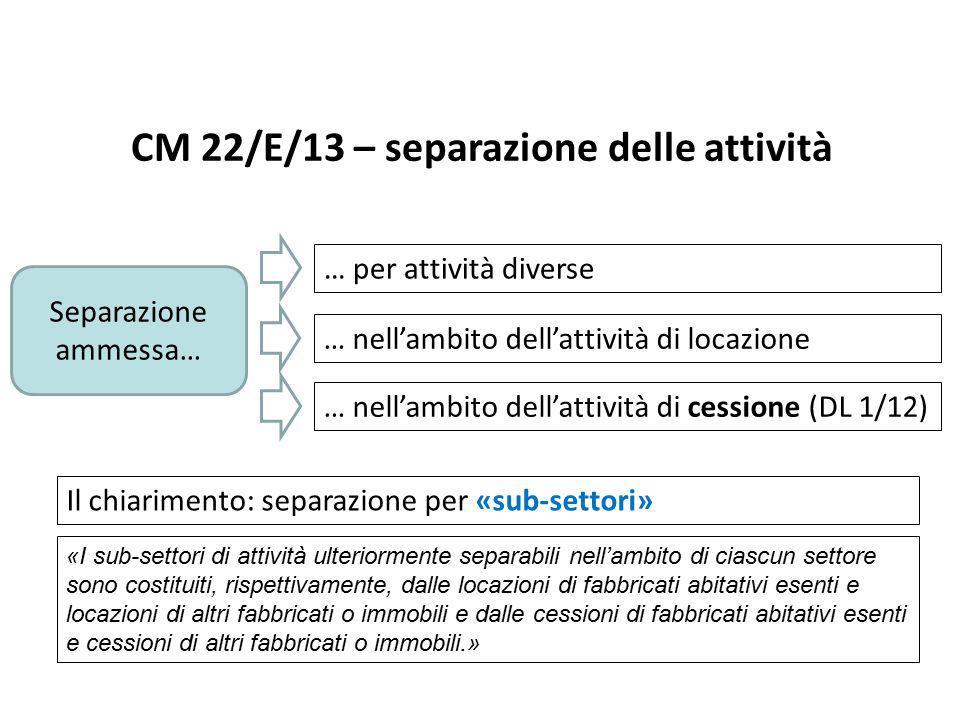 CM 22/E/13 – separazione delle attività Separazione ammessa… … per attività diverse … nell'ambito dell'attività di locazione … nell'ambito dell'attivi