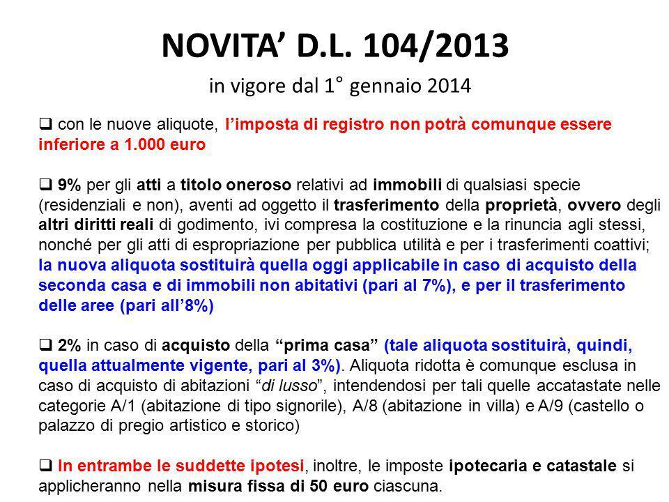 NOVITA' D.L. 104/2013 in vigore dal 1° gennaio 2014  con le nuove aliquote, l'imposta di registro non potrà comunque essere inferiore a 1.000 euro 
