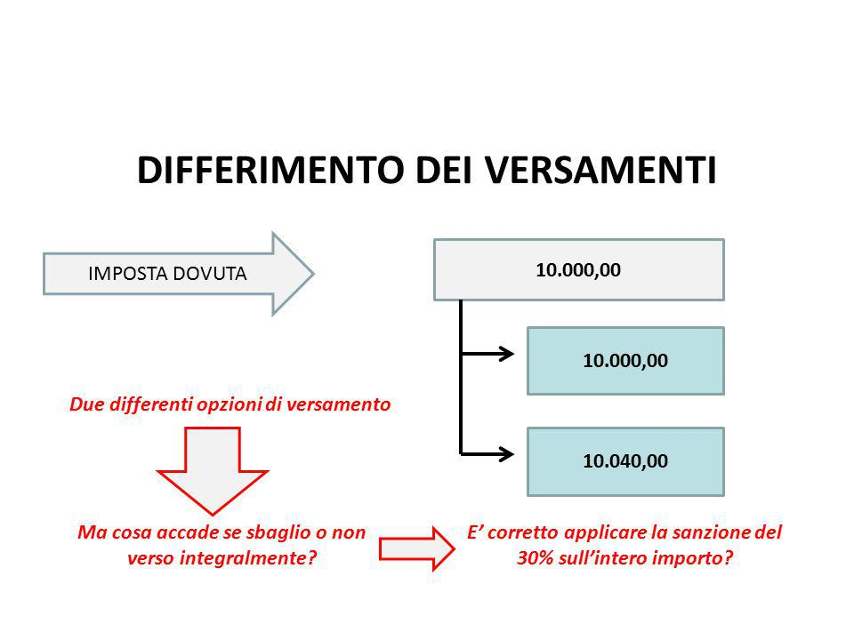 DIFFERIMENTO DEI VERSAMENTI IMPOSTA DOVUTA 10.000,00 10.040,00 Due differenti opzioni di versamento Ma cosa accade se sbaglio o non verso integralmente.