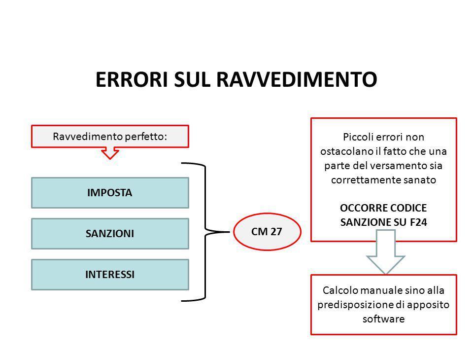 ERRORI SUL RAVVEDIMENTO Ravvedimento perfetto: IMPOSTA SANZIONI INTERESSI CM 27 Piccoli errori non ostacolano il fatto che una parte del versamento si