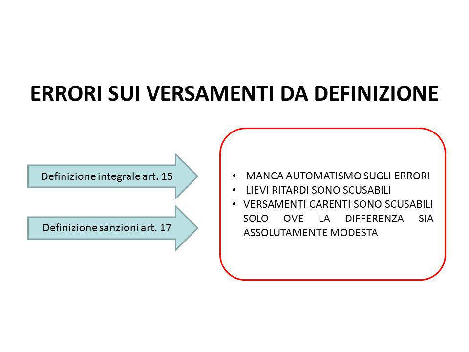 ERRORI SUI VERSAMENTI DA DEFINIZIONE Definizione integrale art. 15 Definizione sanzioni art. 17 MANCA AUTOMATISMO SUGLI ERRORI LIEVI RITARDI SONO SCUS