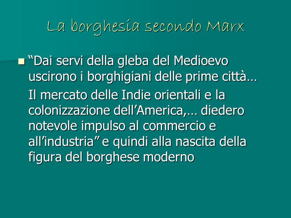 """La borghesia secondo Marx """"Dai servi della gleba del Medioevo uscirono i borghigiani delle prime città… """"Dai servi della gleba del Medioevo uscirono i"""