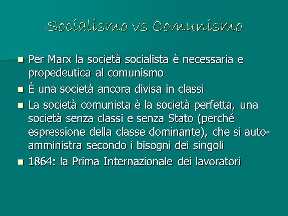 Socialismo vs Comunismo Per Marx la società socialista è necessaria e propedeutica al comunismo Per Marx la società socialista è necessaria e propedeu