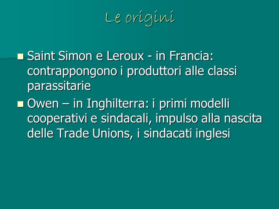 Le origini Saint Simon e Leroux - in Francia: contrappongono i produttori alle classi parassitarie Saint Simon e Leroux - in Francia: contrappongono i