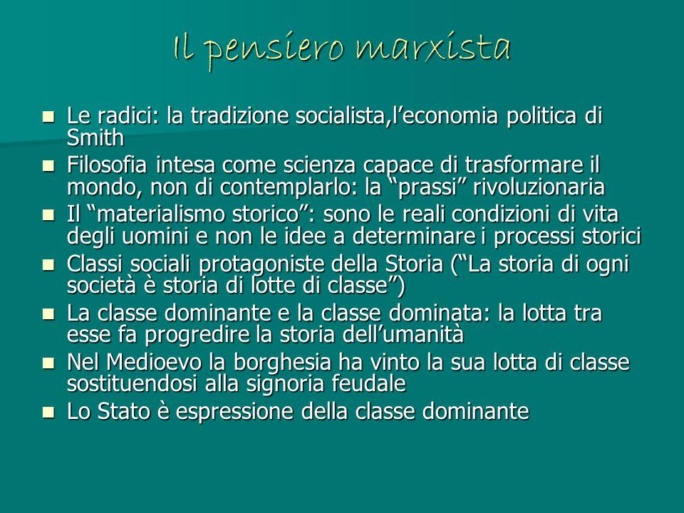 Il pensiero marxista Le radici: la tradizione socialista,l'economia politica di Smith Le radici: la tradizione socialista,l'economia politica di Smith