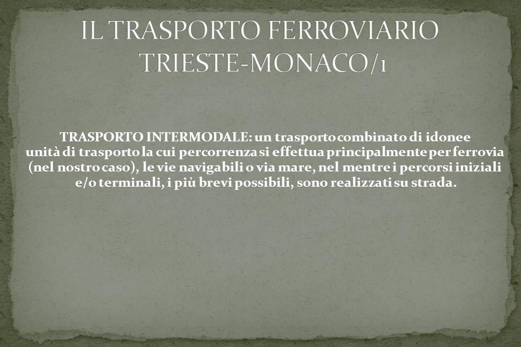 TRASPORTO INTERMODALE: un trasporto combinato di idonee unità di trasporto la cui percorrenza si effettua principalmente per ferrovia (nel nostro caso), le vie navigabili o via mare, nel mentre i percorsi iniziali e/o terminali, i più brevi possibili, sono realizzati su strada.
