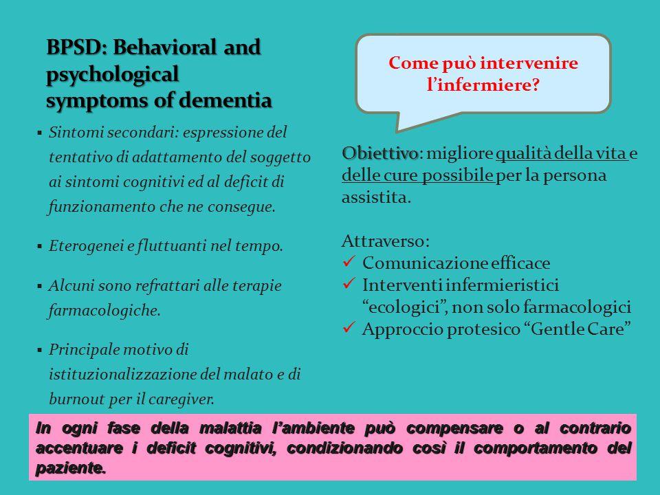  Sintomi secondari: espressione del tentativo di adattamento del soggetto ai sintomi cognitivi ed al deficit di funzionamento che ne consegue.  Eter