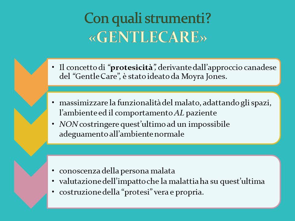 """Il concetto di """"protesicità"""", derivante dall'approccio canadese del """"Gentle Care"""", è stato ideato da Moyra Jones. massimizzare la funzionalità del mal"""