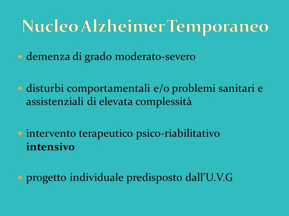 demenza di grado moderato-severo disturbi comportamentali e/o problemi sanitari e assistenziali di elevata complessità intervento terapeutico psico-ri