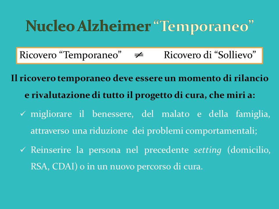 Il ricovero temporaneo deve essere un momento di rilancio e rivalutazione di tutto il progetto di cura, che miri a: migliorare il benessere, del malat