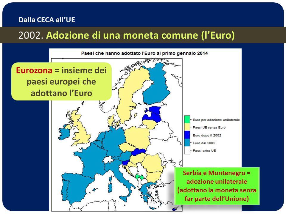 2002. Adozione di una moneta comune (l'Euro) Dalla CECA all'UE Serbia e Montenegro = adozione unilaterale (adottano la moneta senza far parte dell'Uni