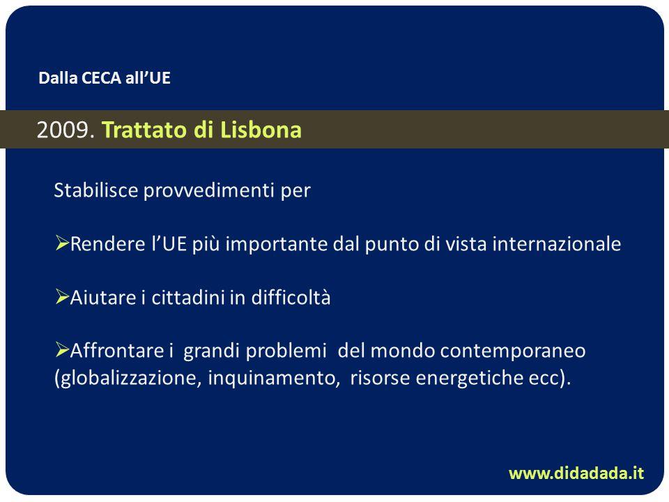 Dalla CECA all'UE 2009. Trattato di Lisbona Stabilisce provvedimenti per  Rendere l'UE più importante dal punto di vista internazionale  Aiutare i c