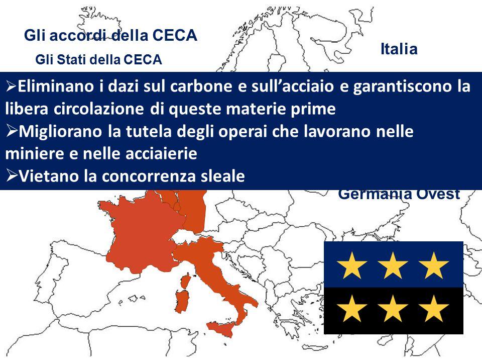 1951. Nasce la CECA Dalla CECA all'UE Sei paesi dell'Europa danno vita alla Comunità Europea del Carbone e dell'Acciaio, dandosi regole comuni per qua