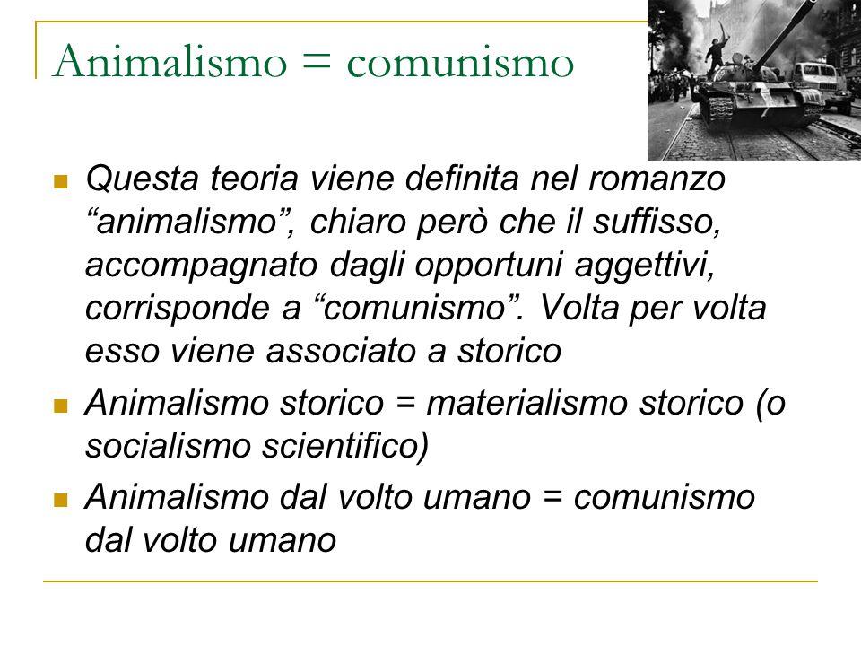 """Animalismo = comunismo Questa teoria viene definita nel romanzo """"animalismo"""", chiaro però che il suffisso, accompagnato dagli opportuni aggettivi, cor"""