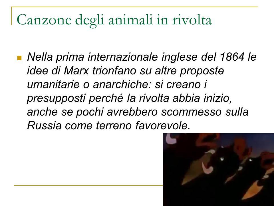 Canzone degli animali in rivolta Nella prima internazionale inglese del 1864 le idee di Marx trionfano su altre proposte umanitarie o anarchiche: si c