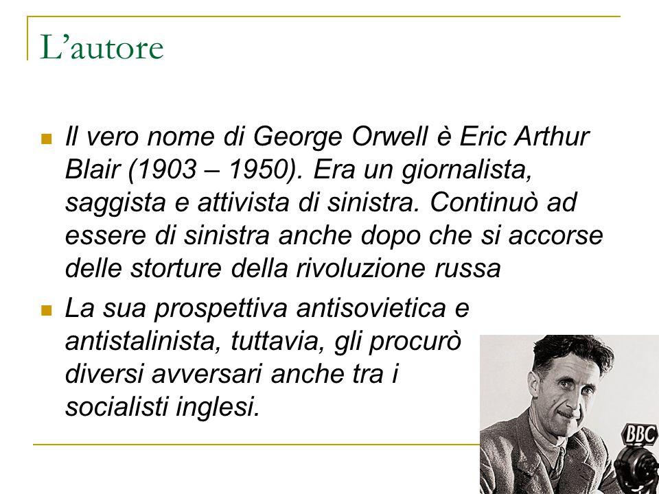 L'autore Il vero nome di George Orwell è Eric Arthur Blair (1903 – 1950). Era un giornalista, saggista e attivista di sinistra. Continuò ad essere di