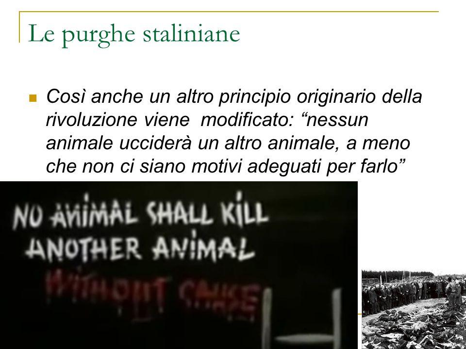 """Le purghe staliniane Così anche un altro principio originario della rivoluzione viene modificato: """"nessun animale ucciderà un altro animale, a meno ch"""