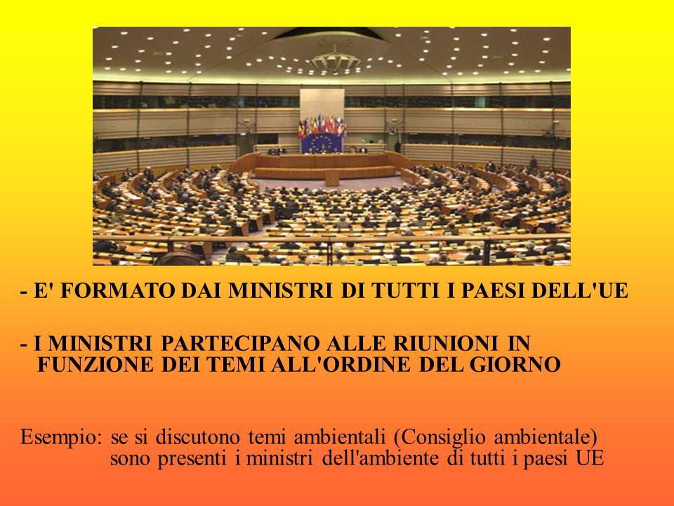 - E FORMATO DAI MINISTRI DI TUTTI I PAESI DELL UE - I MINISTRI PARTECIPANO ALLE RIUNIONI IN FUNZIONE DEI TEMI ALL ORDINE DEL GIORNO Esempio: se si discutono temi ambientali (Consiglio ambientale) sono presenti i ministri dell ambiente di tutti i paesi UE