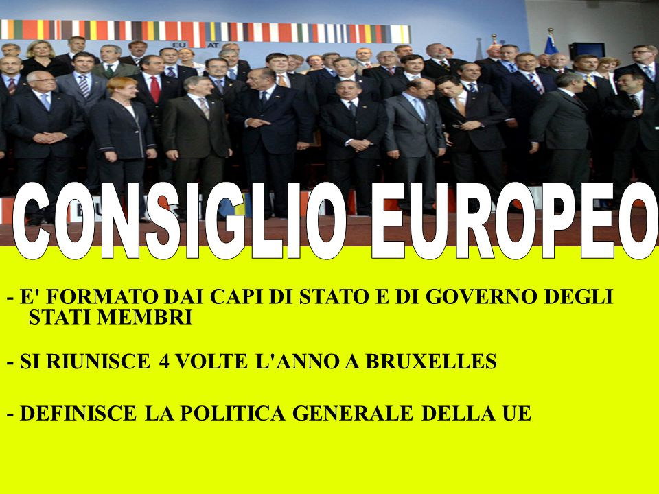 - E' FORMATO DAI CAPI DI STATO E DI GOVERNO DEGLI STATI MEMBRI - SI RIUNISCE 4 VOLTE L'ANNO A BRUXELLES - DEFINISCE LA POLITICA GENERALE DELLA UE