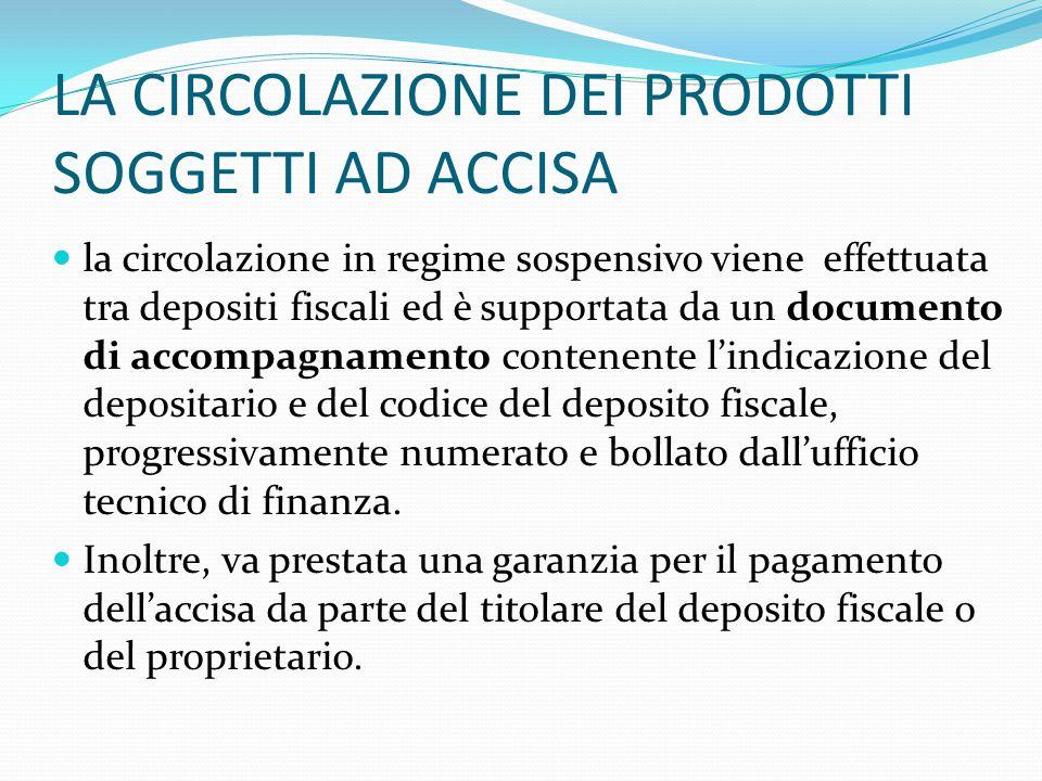 LA CIRCOLAZIONE DEI PRODOTTI SOGGETTI AD ACCISA la circolazione in regime sospensivo viene effettuata tra depositi fiscali ed è supportata da un docum