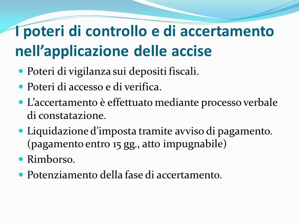 I poteri di controllo e di accertamento nell'applicazione delle accise Poteri di vigilanza sui depositi fiscali. Poteri di accesso e di verifica. L'ac