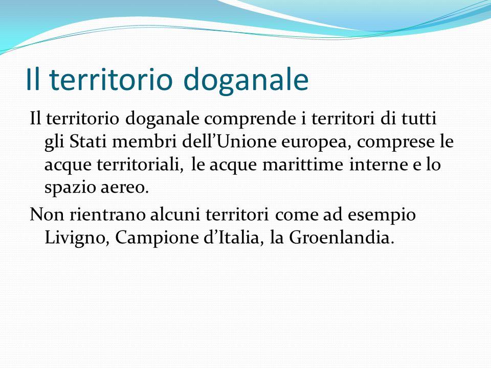 Il territorio doganale Il territorio doganale comprende i territori di tutti gli Stati membri dell'Unione europea, comprese le acque territoriali, le