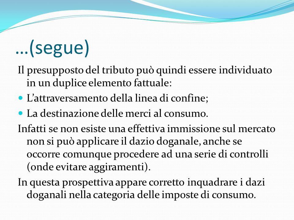 …(segue) Il presupposto del tributo può quindi essere individuato in un duplice elemento fattuale: L'attraversamento della linea di confine; La destin