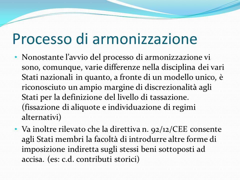 Processo di armonizzazione Nonostante l'avvio del processo di armonizzazione vi sono, comunque, varie differenze nella disciplina dei vari Stati nazio