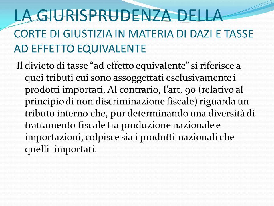 """LA GIURISPRUDENZA DELLA CORTE DI GIUSTIZIA IN MATERIA DI DAZI E TASSE AD EFFETTO EQUIVALENTE Il divieto di tasse """"ad effetto equivalente"""" si riferisce"""