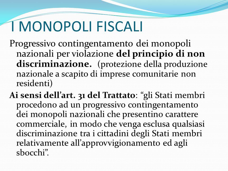 I MONOPOLI FISCALI Progressivo contingentamento dei monopoli nazionali per violazione del principio di non discriminazione. (protezione della produzio