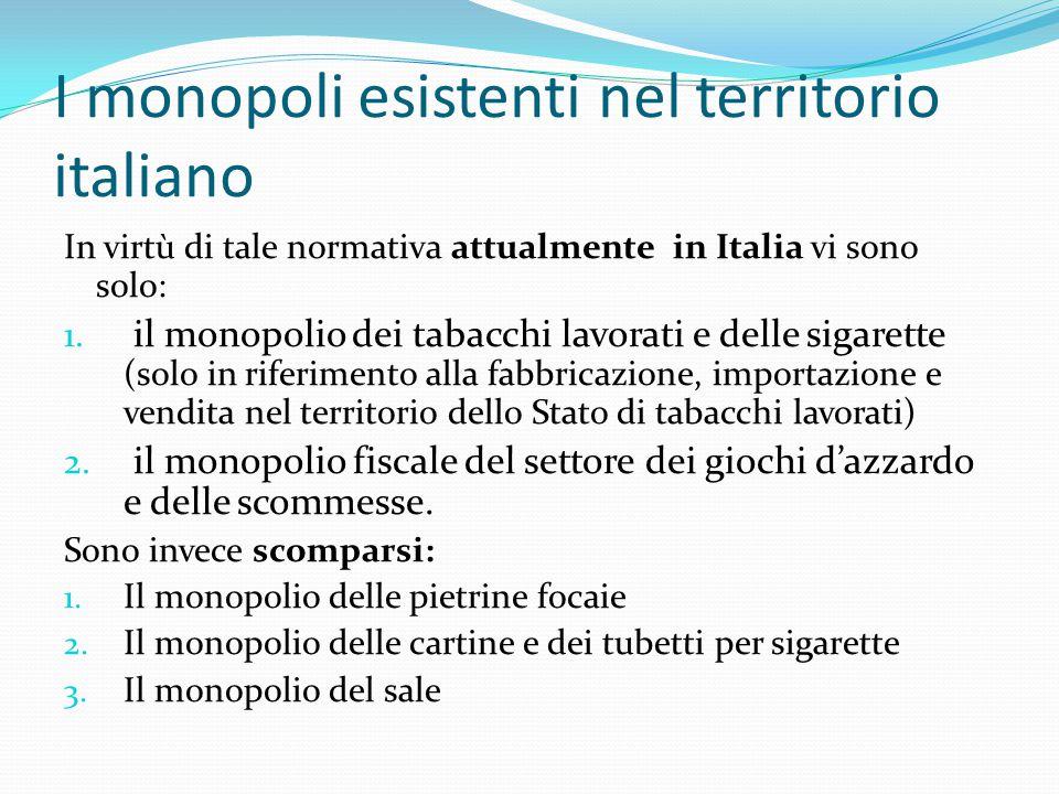 I monopoli esistenti nel territorio italiano In virtù di tale normativa attualmente in Italia vi sono solo: 1. il monopolio dei tabacchi lavorati e de