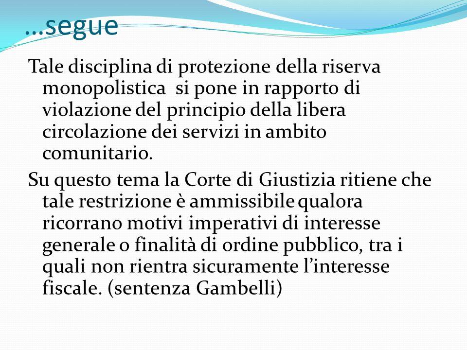 …segue Tale disciplina di protezione della riserva monopolistica si pone in rapporto di violazione del principio della libera circolazione dei servizi