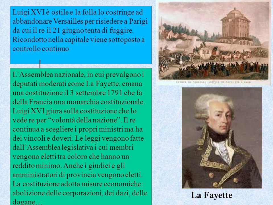 Luigi XVI è ostile e la folla lo costringe ad abbandonare Versailles per risiedere a Parigi da cui il re il 21 giugno tenta di fuggire. Ricondotto nel