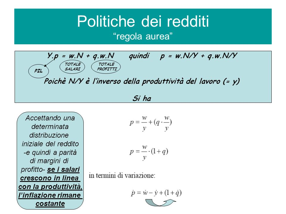 POLITICHE DEI REDDITI (1) IN ITALIA La necessità di introdurre una politica di controllo dei redditi era stata per la prima volta ufficialmente dichiarata in Italia nel 1963, nella relazione annuale della Banca d'Italia predisposta dall'allora governatore G.