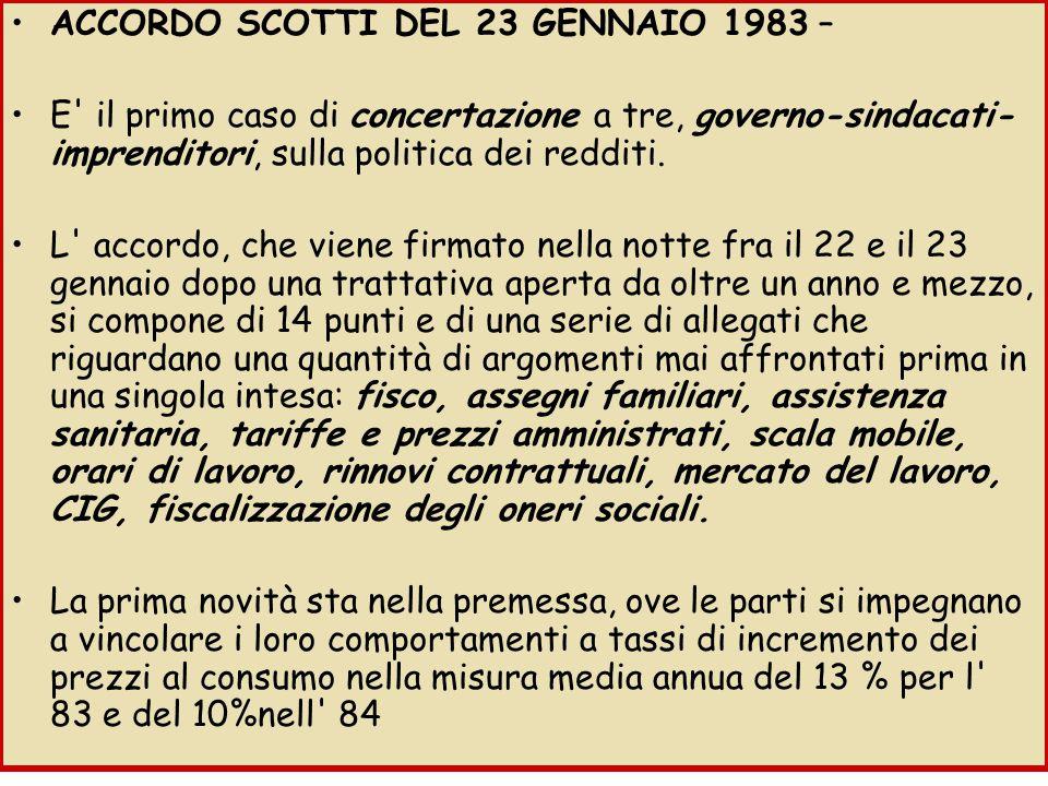ACCORDO SCOTTI DEL 23 GENNAIO 1983 – E il primo caso di concertazione a tre, governo-sindacati- imprenditori, sulla politica dei redditi.