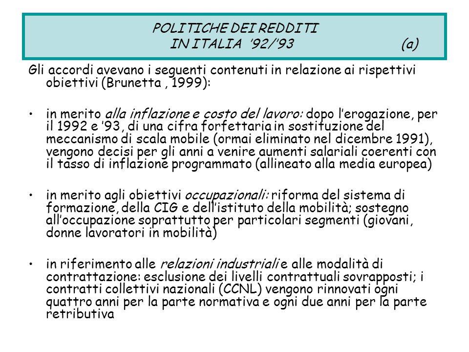 POLITICHE DEI REDDITI IN ITALIA '92/'93 (a) Gli accordi avevano i seguenti contenuti in relazione ai rispettivi obiettivi (Brunetta, 1999): in merito alla inflazione e costo del lavoro: dopo l'erogazione, per il 1992 e '93, di una cifra forfettaria in sostituzione del meccanismo di scala mobile (ormai eliminato nel dicembre 1991), vengono decisi per gli anni a venire aumenti salariali coerenti con il tasso di inflazione programmato (allineato alla media europea) in merito agli obiettivi occupazionali: riforma del sistema di formazione, della CIG e dell'istituto della mobilità; sostegno all'occupazione soprattutto per particolari segmenti (giovani, donne lavoratori in mobilità) in riferimento alle relazioni industriali e alle modalità di contrattazione: esclusione dei livelli contrattuali sovrapposti; i contratti collettivi nazionali (CCNL) vengono rinnovati ogni quattro anni per la parte normativa e ogni due anni per la parte retributiva