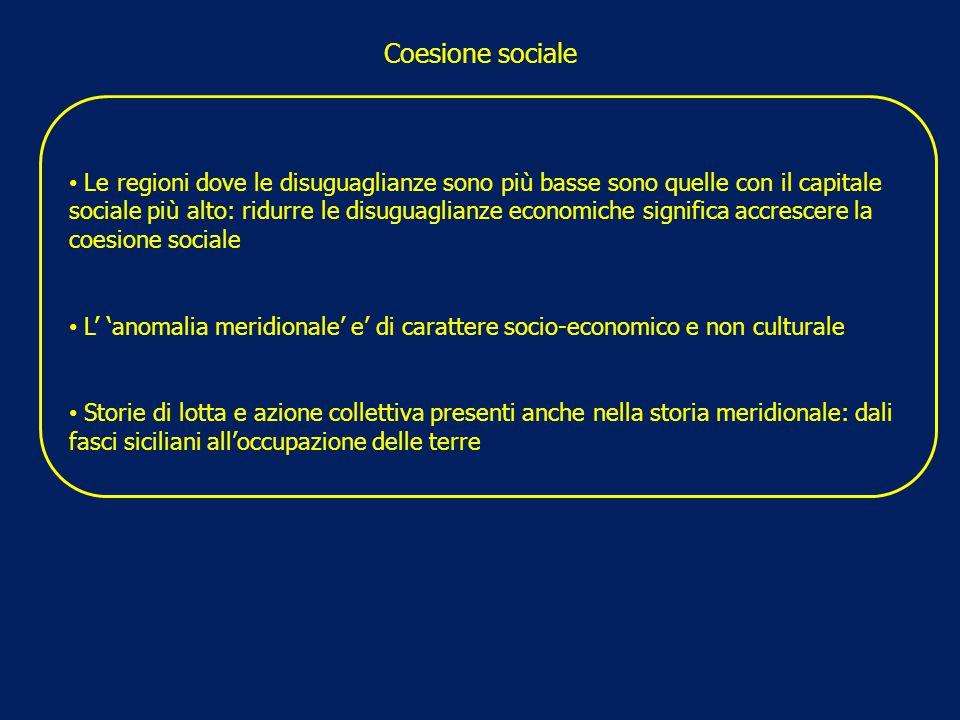 Coesione sociale Le regioni dove le disuguaglianze sono più basse sono quelle con il capitale sociale più alto: ridurre le disuguaglianze economiche s