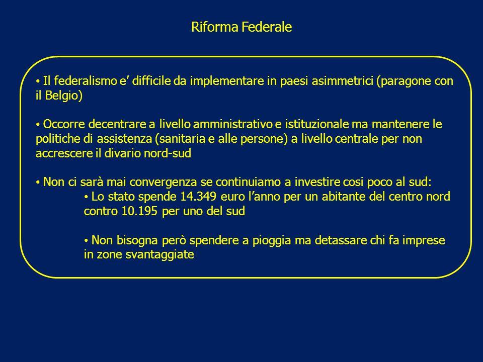Riforma Federale Il federalismo e' difficile da implementare in paesi asimmetrici (paragone con il Belgio) Occorre decentrare a livello amministrativo