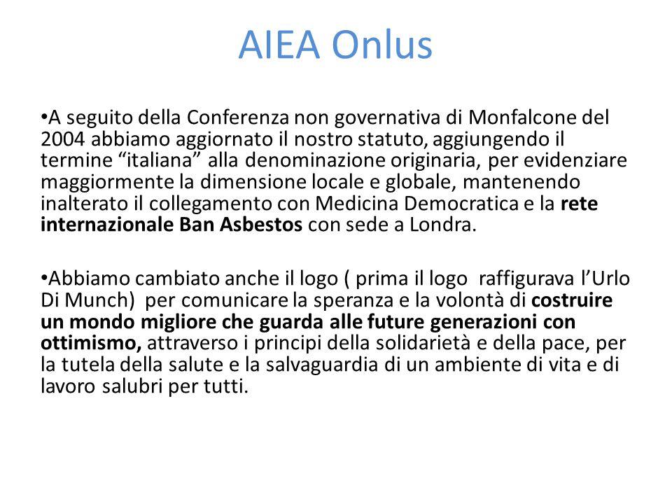 AIEA Onlus A seguito della Conferenza non governativa di Monfalcone del 2004 abbiamo aggiornato il nostro statuto, aggiungendo il termine italiana alla denominazione originaria, per evidenziare maggiormente la dimensione locale e globale, mantenendo inalterato il collegamento con Medicina Democratica e la rete internazionale Ban Asbestos con sede a Londra.