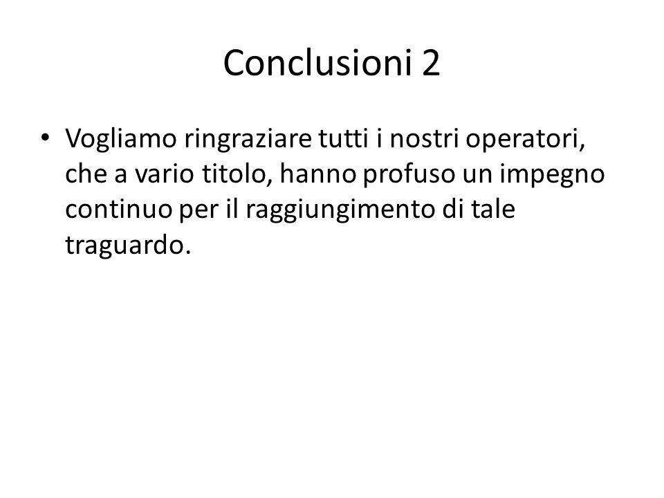 Conclusioni 2 Vogliamo ringraziare tutti i nostri operatori, che a vario titolo, hanno profuso un impegno continuo per il raggiungimento di tale traguardo.