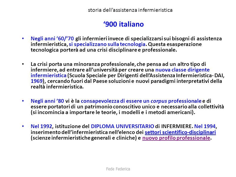 storia dell'assistenza infermieristica '900 italiano Negli anni '60/'70 gli infermieri invece di specializzarsi sui bisogni di assistenza infermierist