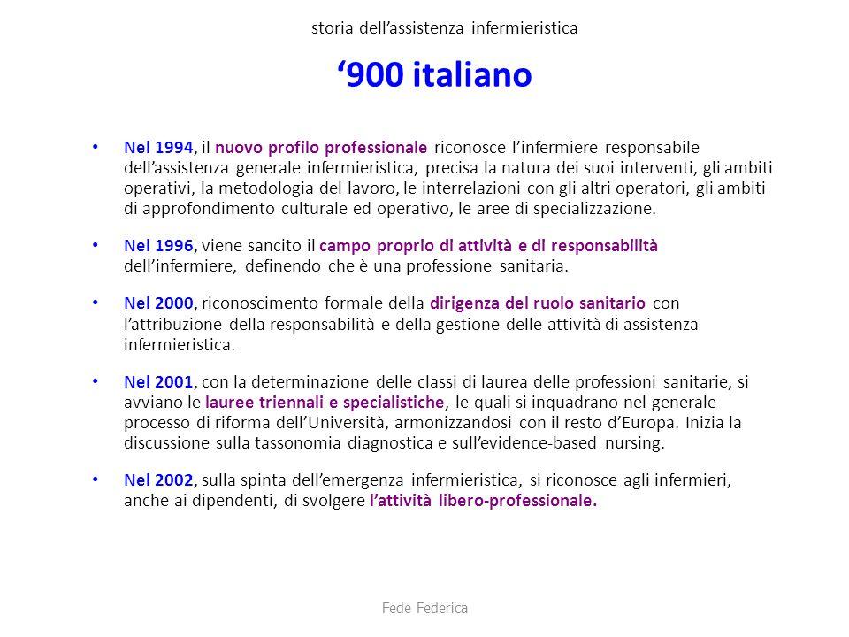 storia dell'assistenza infermieristica '900 italiano Nel 1994, il nuovo profilo professionale riconosce l'infermiere responsabile dell'assistenza gene
