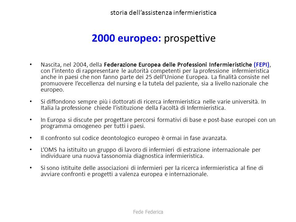 storia dell'assistenza infermieristica 2000 europeo: prospettive Nascita, nel 2004, della Federazione Europea delle Professioni Infermieristiche (FEPI