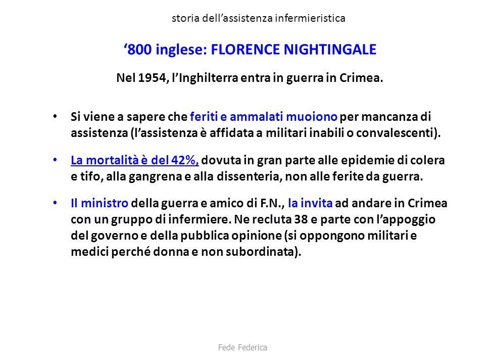 storia dell'assistenza infermieristica '800 inglese: FLORENCE NIGHTINGALE Nel 1954, l'Inghilterra entra in guerra in Crimea. Si viene a sapere che fer