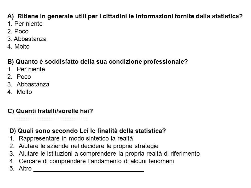 A) Ritiene in generale utili per i cittadini le informazioni fornite dalla statistica? 1. Per niente 2. Poco 3. Abbastanza 4. Molto B) Quanto è soddis