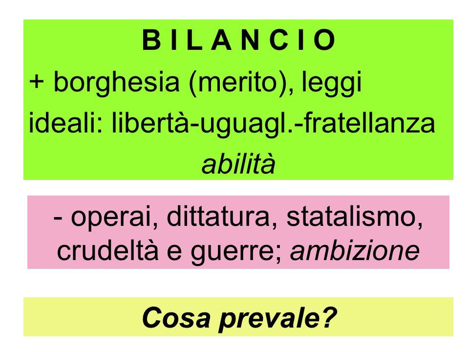B I L A N C I O + borghesia (merito), leggi ideali: libertà-uguagl.-fratellanza abilità - operai, dittatura, statalismo, crudeltà e guerre; ambizione