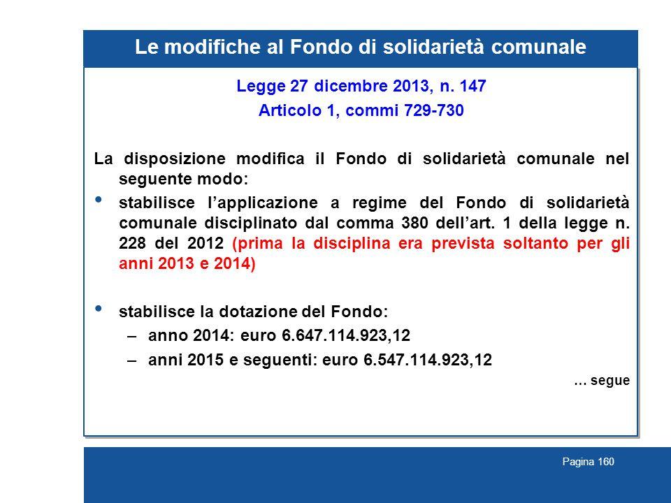 Pagina 160 Le modifiche al Fondo di solidarietà comunale Legge 27 dicembre 2013, n.