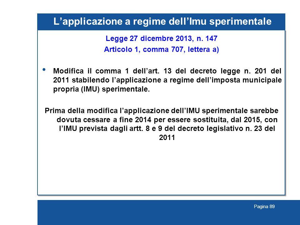 Pagina 89 L'applicazione a regime dell'Imu sperimentale Legge 27 dicembre 2013, n.