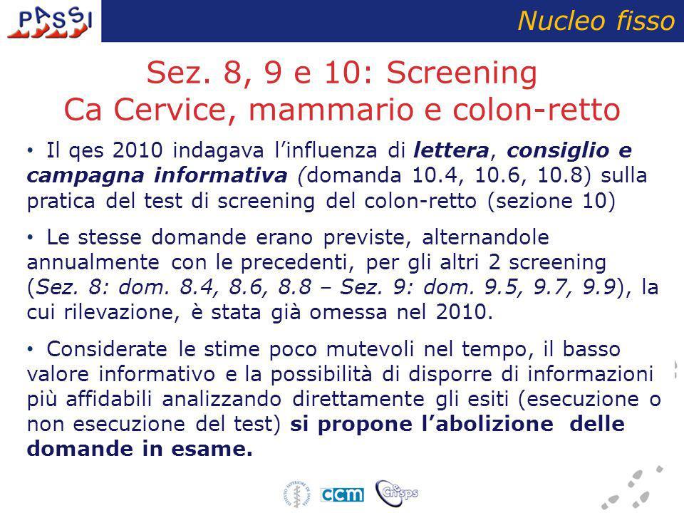 Sez. 8, 9 e 10: Screening Ca Cervice, mammario e colon-retto Nucleo fisso Il qes 2010 indagava l'influenza di lettera, consiglio e campagna informativ